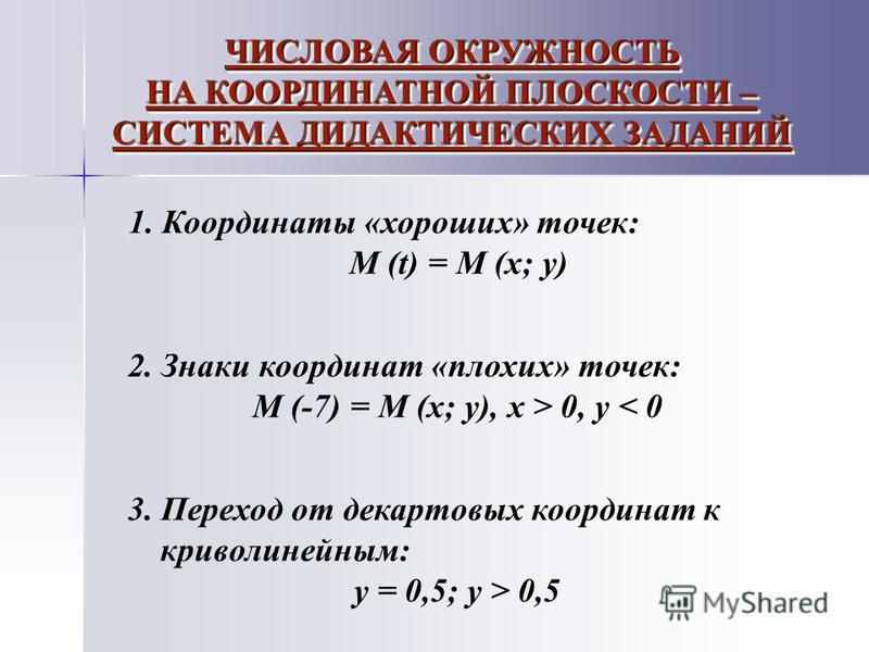 1. Координаты «хороших» точек: М (t) = M (x; y) 2. Знаки координат «плохих» точек: M (-7) = M (x; y), x > 0, y < 0 3. Переход от декартовых координат к криволинейным: y = 0,5; y > 0,5