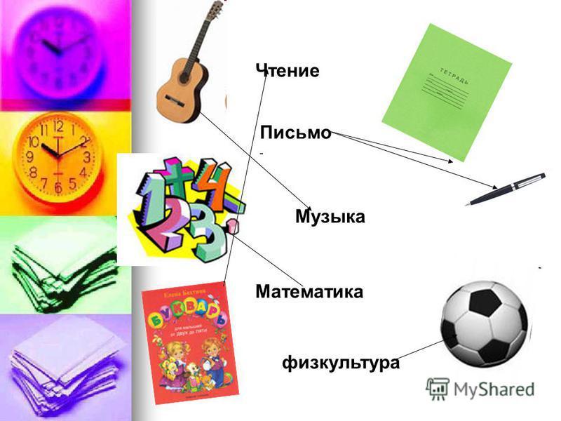Чтение Письмо Музыка Математика физкультура