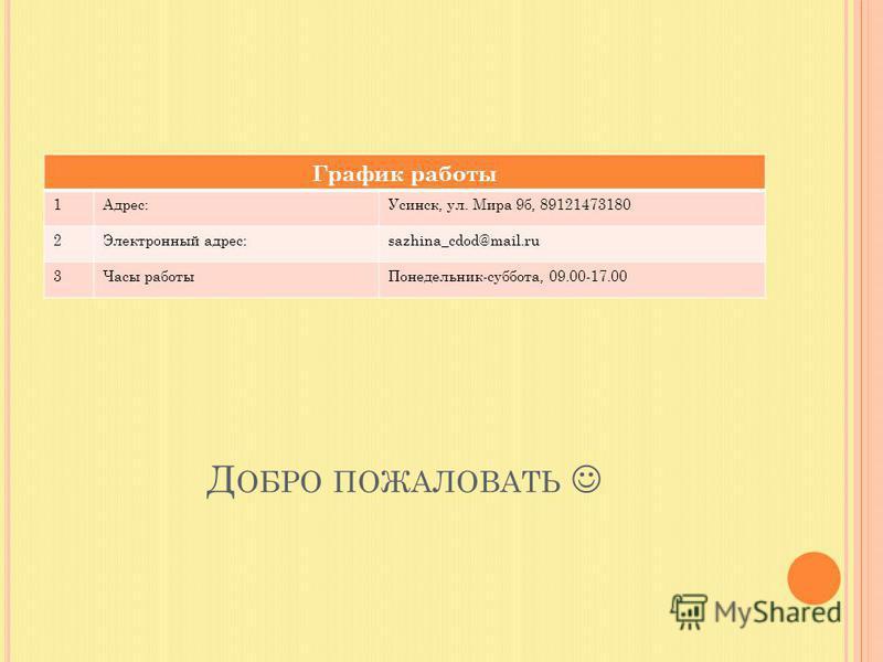 Д ОБРО ПОЖАЛОВАТЬ График работы 1Адрес:Усинск, ул. Мира 9 б, 89121473180 2Электронный адрес:sazhina_cdod@mail.ru 3Часы работы Понедельник-суббота, 09.00-17.00