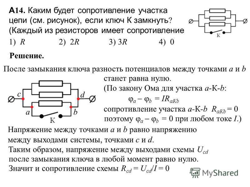А 14. Каким будет сопротивление участка цепи (см. рисунок), если ключ К замкнуть ? (Каждый из резисторов имеет сопротивление R.) 1) R 2) 2R 3) 3R 4) 0 Решение. После замыкания ключа разность потенциалов между точками a и b a b станет равна нулю. (По