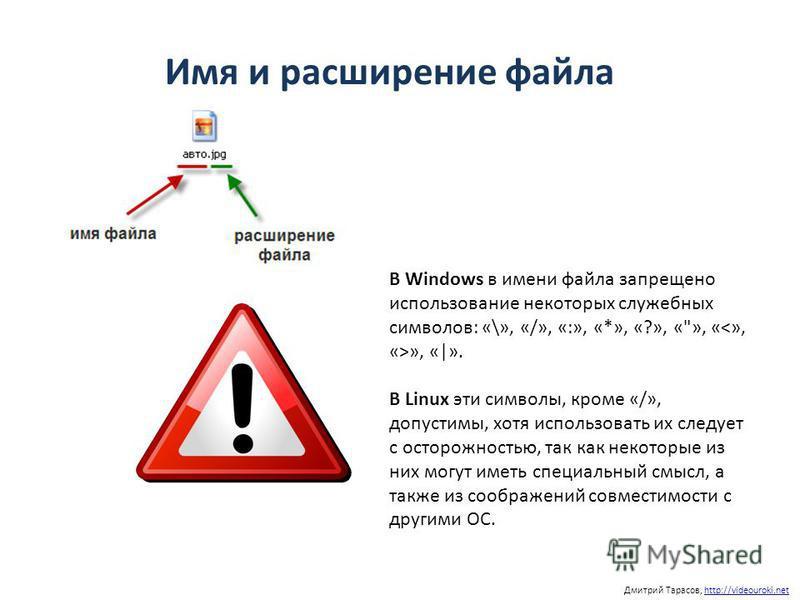 Имя и расширение файла Дмитрий Тарасов, http://videouroki.nethttp://videouroki.net В Windows в имени файла запрещено использование некоторых служебных символов: «\», «/», «:», «*», «?», «