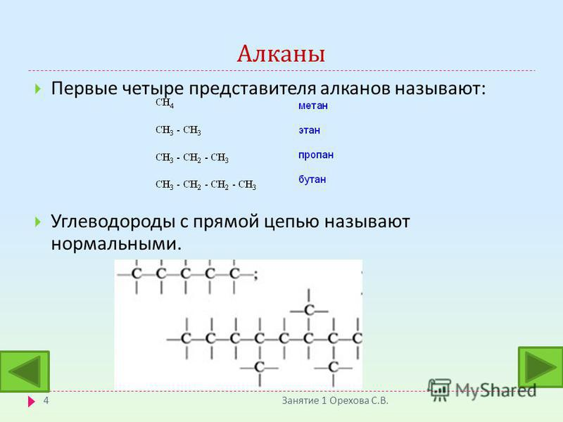 Алканы Занятие 1 Орехова С. В. 4 Первые четыре представителя алканов называют : Углеводороды с прямой цепью называют нормальными.