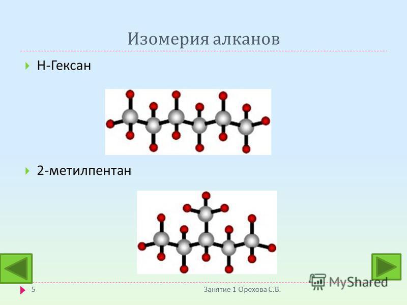 Изомерия алканов Занятие 1 Орехова С. В. 5 Н - Гексан 2- метилпентан