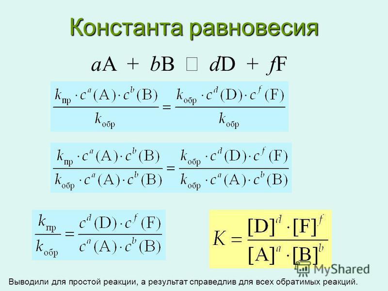 Константа равновесия aA + bB dD + fF Выводили для простой реакции, а результат справедлив для всех обратимых реакций.