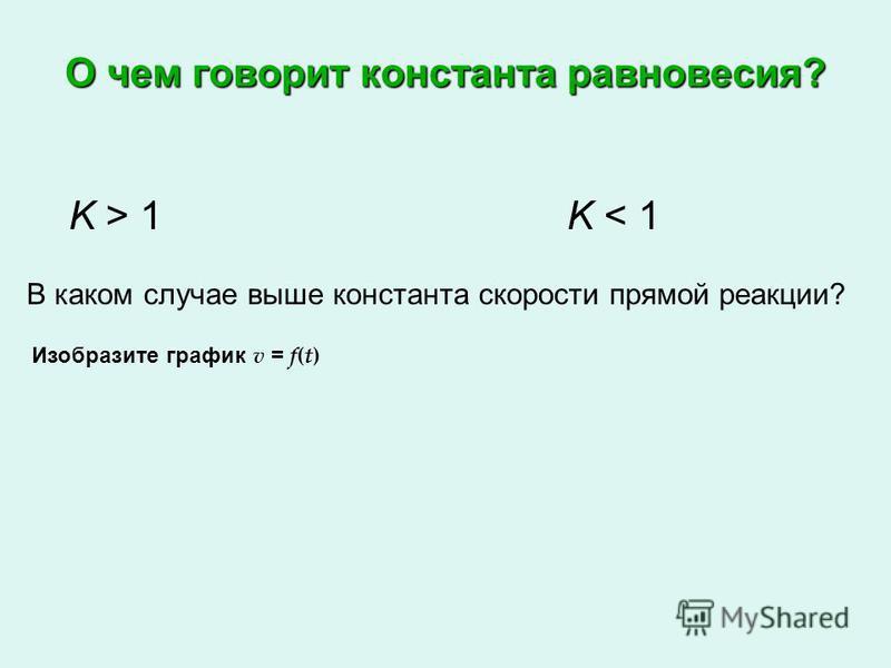 О чем говорит константа равновесия? K > 1K < 1 В каком случае выше константа скорости прямой реакции? Изобразите график v = f(t)