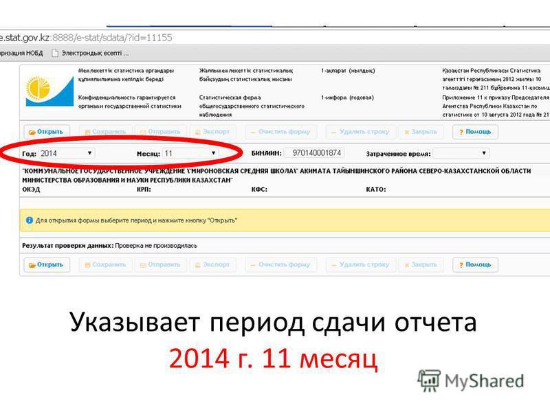 Указывает период сдачи отчета 2014 г. 11 месяц