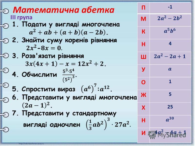 Математична абетка ІІІ група П М К Н 4 Ш У О 1 Ж 5 Х 25 Н И