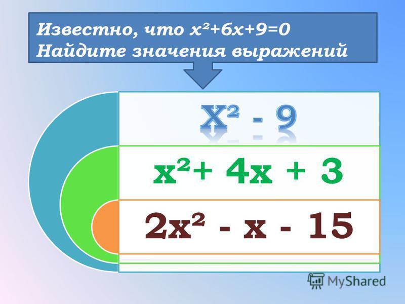 Известно, что х²+6 х+9=0 Найдите значения выражений х²+ 4 х + 3 2 х² - х - 15