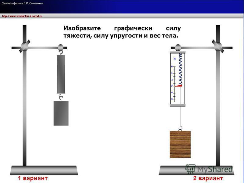 Изобразите графически силу тяжести, силу упругости и вес тела. 1 вариант 2 вариант