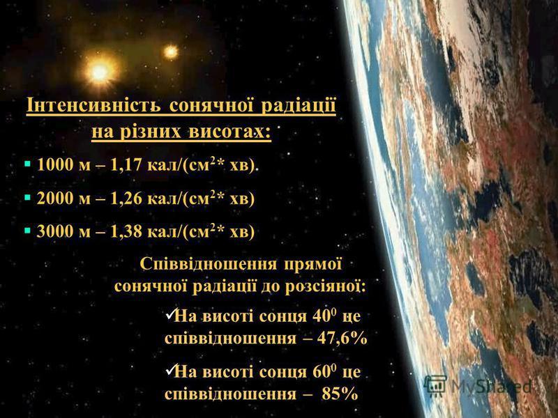 Інтенсивність сонячної радіації на різних висотах: 1000 м – 1,17 кал/(см 2 * хв) 2000 м – 1,26 кал/(см 2 * хв) 3000 м – 1,38 кал/(см 2 * хв) Співвідношення прямої сонячної радіації до розсіяної: На висоті сонця 40 0 це співвідношення – 47,6% На висот