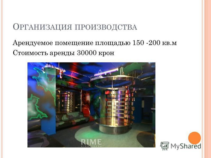 О РГАНИЗАЦИЯ ПРОИЗВОДСТВА Арендуемое помещение площадью 150 -200 кв.м Стоимость аренды 30000 крон
