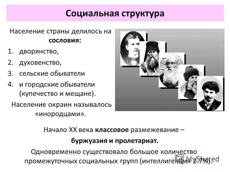 Социальная структура Начало XX века классовое размежевание – буржуазия и пролетариат. Одновременно существовало большое количество промежуточных социальных групп (интеллигенция 2.7%). Население страны делилось на сословия: 1.дворянство, 2.духовенство