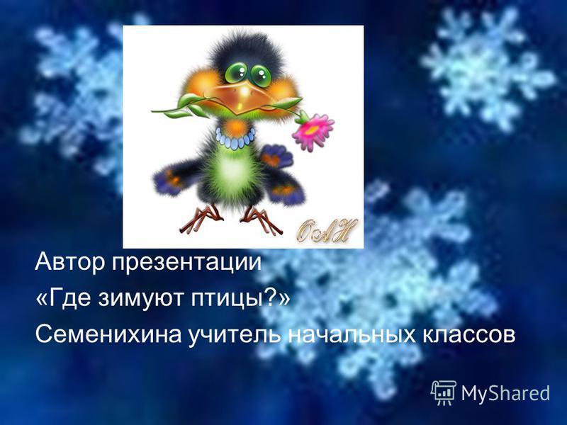 Автор презентации «Где зимуют птицы?» Семенихина учитель начальных классов