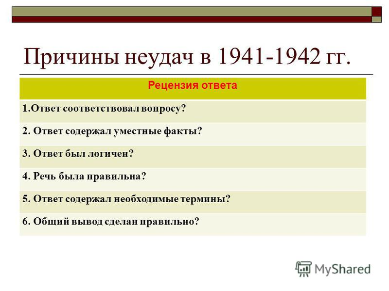 Причины неудач в 1941-1942 гг. Рецензия ответа 1. Ответ соответствовал вопросу? 2. Ответ содержал уместные факты? 3. Ответ был логичен? 4. Речь была правильна? 5. Ответ содержал необходимые термины? 6. Общий вывод сделан правильно?