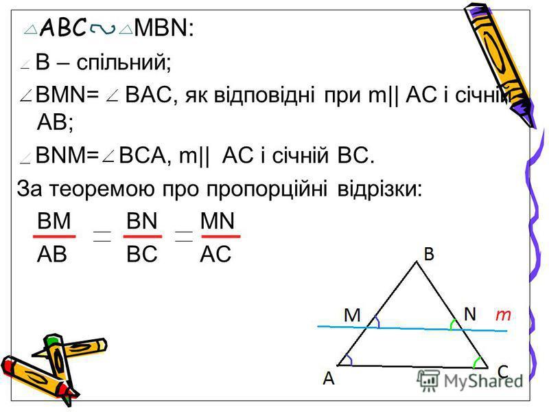 АВС MBN: В – спільний; BMN= BAC, як відповідні при m|| AC і січній AB; BNM= BCA, m|| AC і січній BC. За теоремою про пропорційні відрізки: BMBN MN ABBC AC