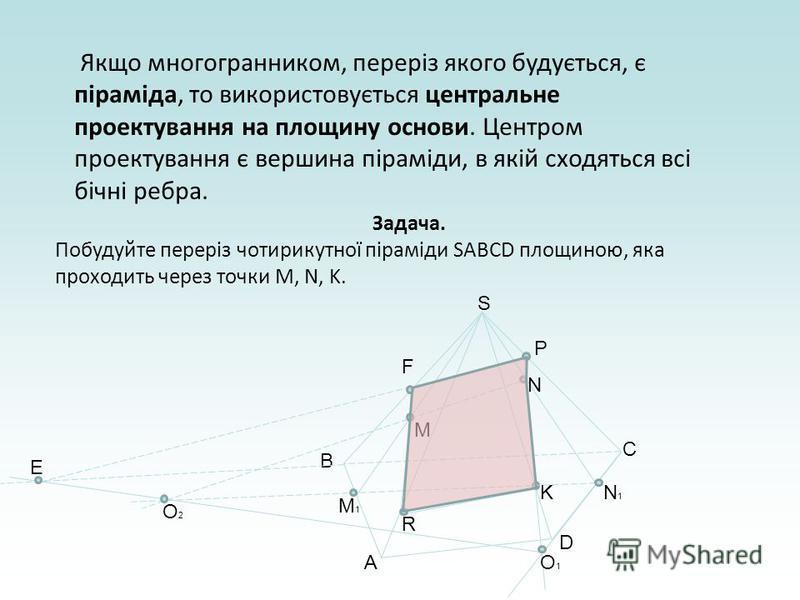 Якщо многогранником, переріз якого будується, є піраміда, то використовується центральне проектування на площину основи. Центром проектування є вершина піраміди, в якій сходяться всі бічні ребра. Задача. Побудуйте переріз чотирикутної піраміди SABCD