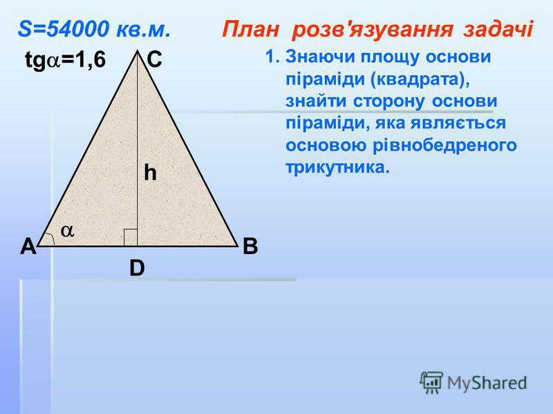 АВ С D tg =1,6 h 1.Знаючи площу основи піраміди (квадрата), знайти сторону основи піраміди, яка являється основою рівнобедреного трикутника. S=54000 кв.м.План розв'язування задачі