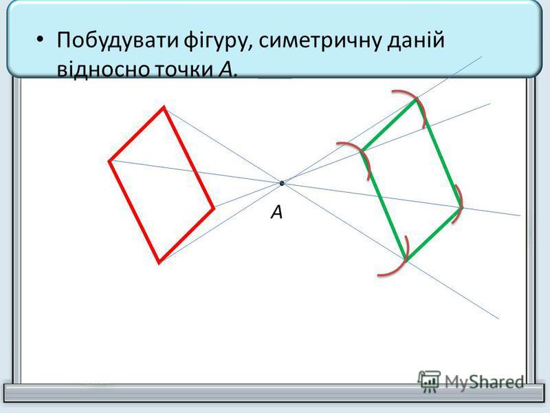 Побудувати фігуру, симетричну даній відносно точки А. А