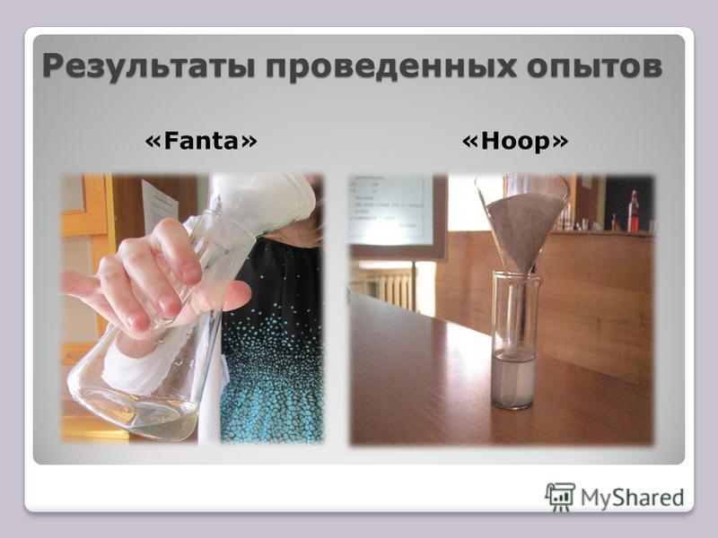 Результаты проведенных опытов «Fanta»«Hoop»
