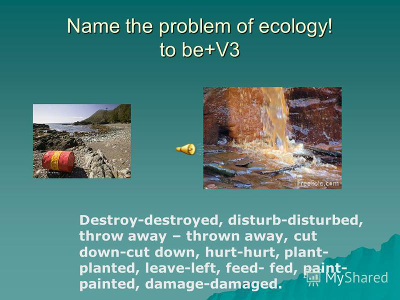 Name the problem of ecology! to be+V3 Destroy-destroyed, disturb-disturbed, throw away – thrown away, cut down-cut down, hurt-hurt, plant- planted, leave-left, feed- fed, paint- painted, damage-damaged.
