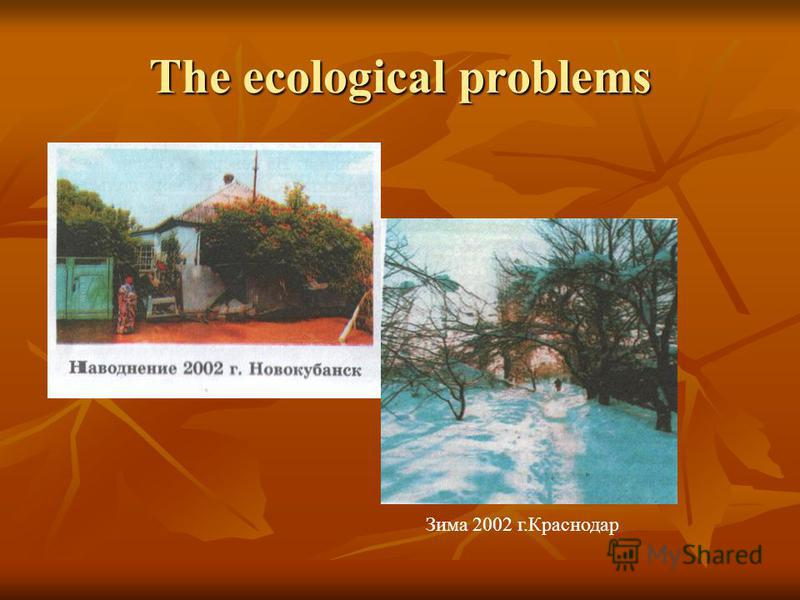 The ecological problems Зима 2002 г.Краснодар