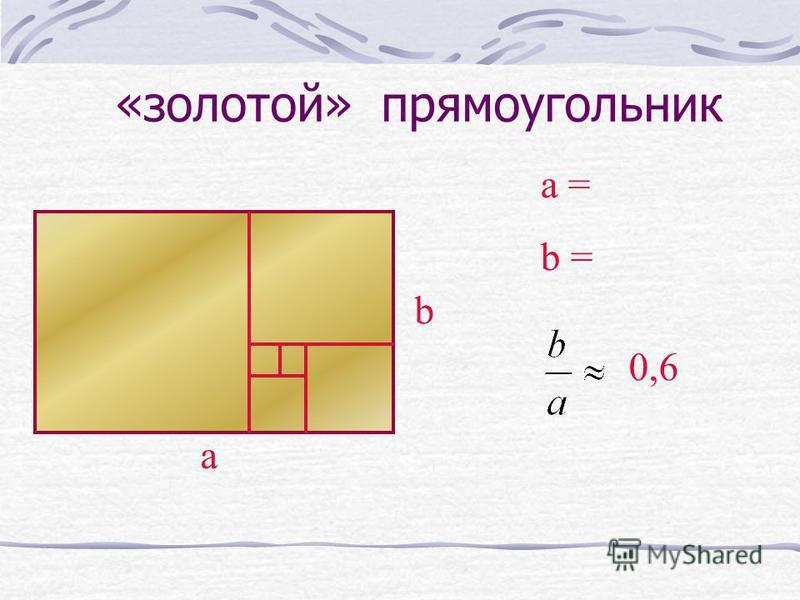 «золотой» прямоугольник а b a = b = 0,6