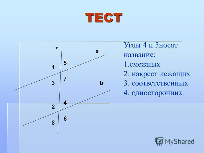 Углы 4 и 5 носят название: 1. смежных 2. накрест лежащих 3. соответственных 4. односторонних 5 3 7 1 2 4 8 6 с a b ТЕСТ