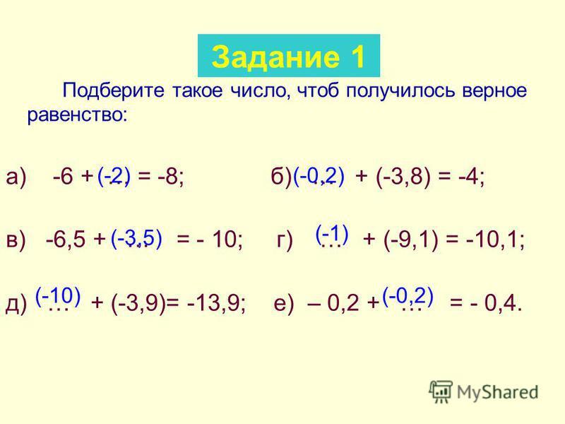 Подберите такое число, чтоб получилось верное равенство: а) -6 + … = -8; б) … + (-3,8) = -4; в) -6,5 + … = - 10; г) … + (-9,1) = -10,1; д) … + (-3,9)= -13,9; е) – 0,2 + … = - 0,4. Задание 1 (-2)(-0,2) (-3,5) (-1) (-10)(-0,2)