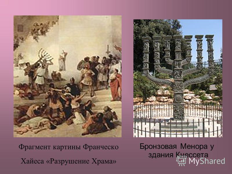 Фрагмент картины Франческо Хайеса «Разрушение Храма» Бронзовая Менора у здания Кнессета