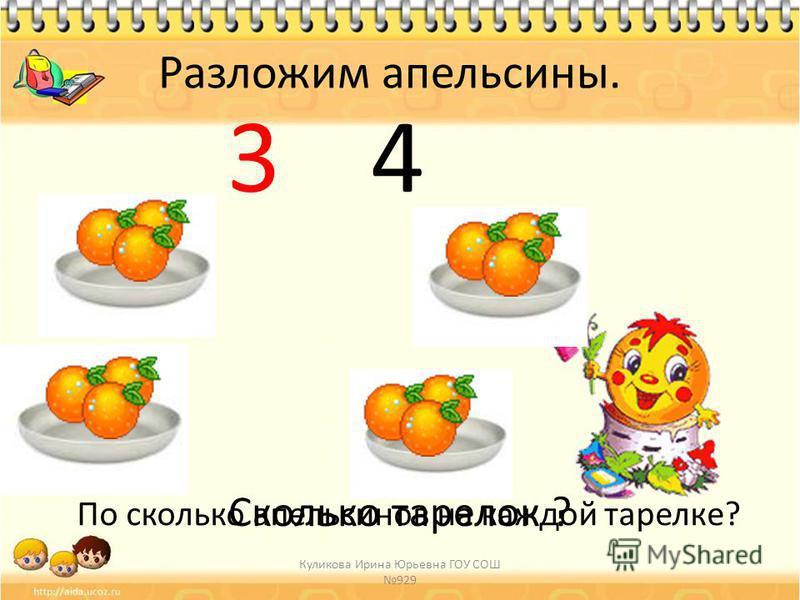 Сколько тарелок ? 4 Разложим апельсины. По сколько апельсинов на каждой тарелке? 3 Куликова Ирина Юрьевна ГОУ СОШ 929