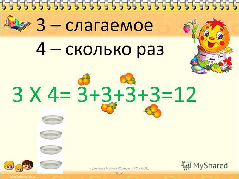 3 Х 4= 3+3+3+3=12 3 – слагаемое 4 – сколько раз
