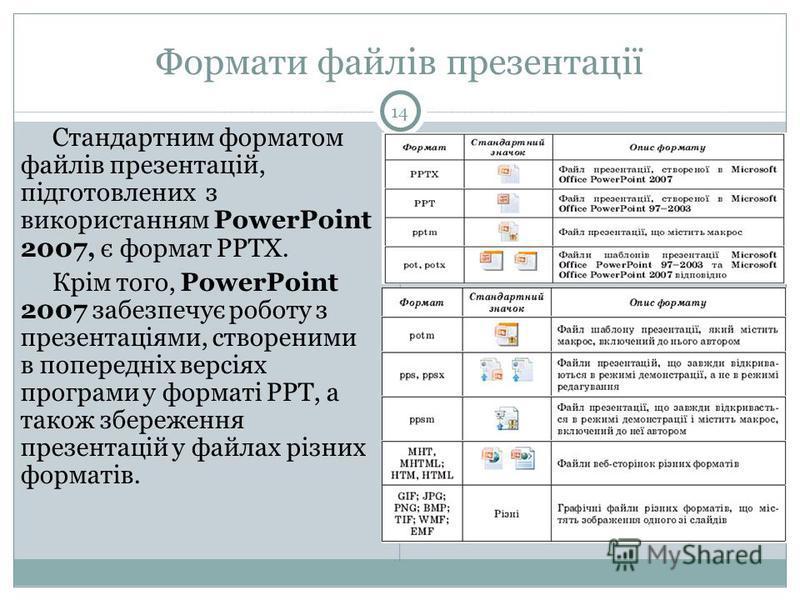 Формати файлів презентації Стандартним форматом файлів презентацій, підготовлених з використанням PowerPoint 2007, є формат PPTX. Крім того, PowerPoint 2007 забезпечує роботу з презентаціями, створеними в попередніх версіях програми у форматі PPT, а