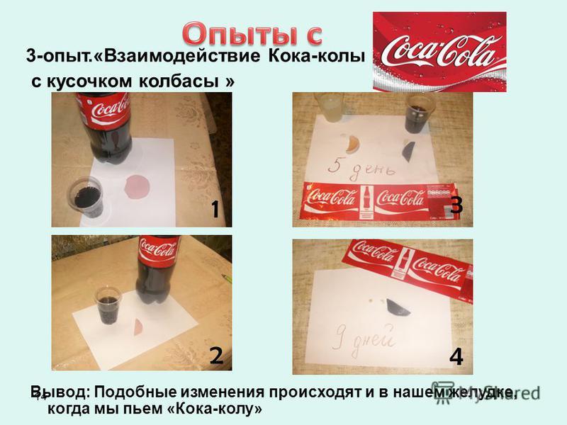 14 3-опыт.«Взаимодействие Кока-колы с кусочком колбасы » Вывод: Подобные изменения происходят и в нашем желудке, когда мы пьем «Кока-колу» 1 2 1 2 1 2 3 4