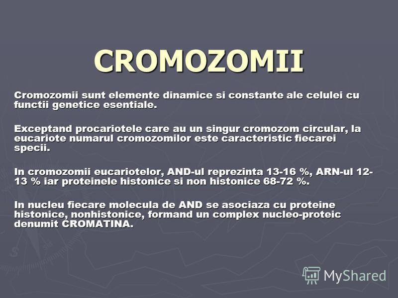 CROMOZOMII Cromozomii sunt elemente dinamice si constante ale celulei cu functii genetice esentiale. Exceptand procariotele care au un singur cromozom circular, la eucariote numarul cromozomilor este caracteristic fiecarei specii. In cromozomii eucar