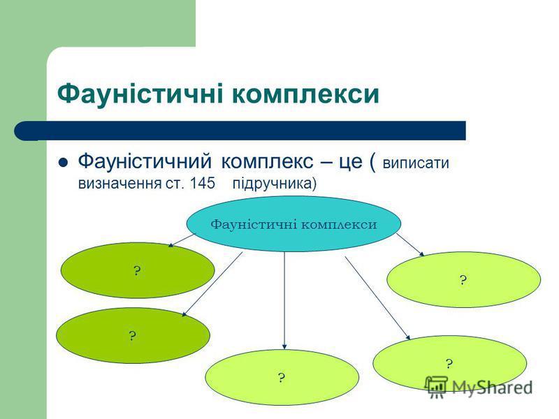 Фауністичні комплекси Фауністичний комплекс – це ( виписати визначення ст. 145 підручника) Фауністичні комплекси ? ? ? ? ?