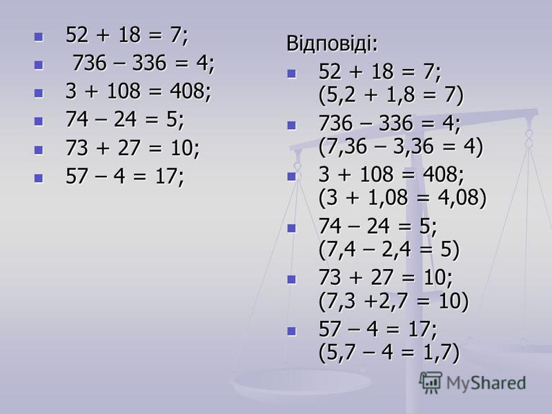 52 + 18 = 7; 52 + 18 = 7; 736 – 336 = 4; 736 – 336 = 4; 3 + 108 = 408; 3 + 108 = 408; 74 – 24 = 5; 74 – 24 = 5; 73 + 27 = 10; 73 + 27 = 10; 57 – 4 = 17; 57 – 4 = 17; Відповіді: 52 + 18 = 7; (5,2 + 1,8 = 7) 736 – 336 = 4; (7,36 – 3,36 = 4) 3 + 108 = 4