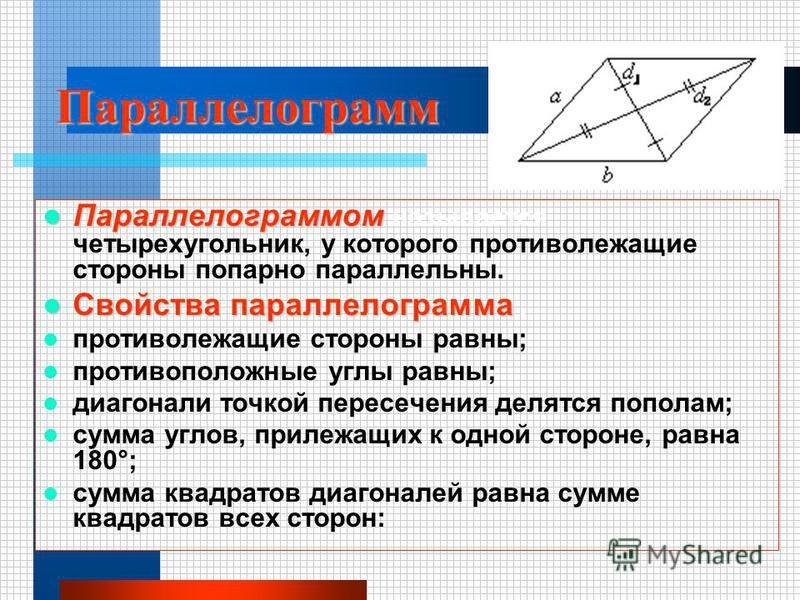 Параллелограмм Параллелограммом называется четырехугольник, у которого противолежащие стороны попарно параллельны. Свойства параллелограмма : противолежащие стороны равны; противоположные углы равны; диагонали точкой пересечения делятся пополам; сумм