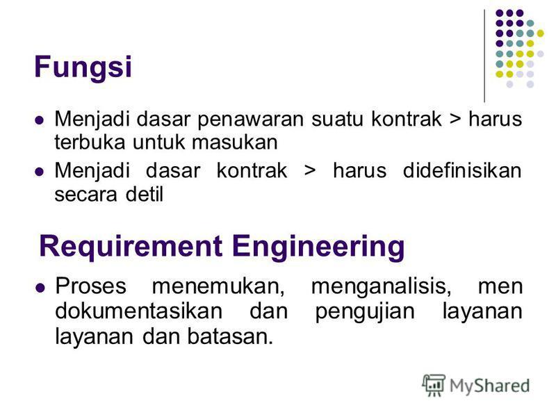 Fungsi Menjadi dasar penawaran suatu kontrak > harus terbuka untuk masukan Menjadi dasar kontrak > harus didefinisikan secara detil Requirement Engineering Proses menemukan, menganalisis, men dokumentasikan dan pengujian layanan layanan dan bata