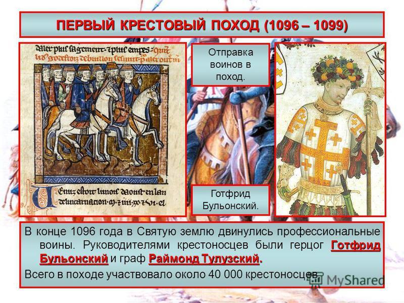 ПЕРВЫЙ КРЕСТОВЫЙ ПОХОД (1096 – 1099) Готфрид Бульонский Раймонд Тулузский. В конце 1096 года в Святую землю двинулись профессиональные воины. Руководителями крестоносцев были герцог Готфрид Бульонский и граф Раймонд Тулузский. Всего в походе участвов