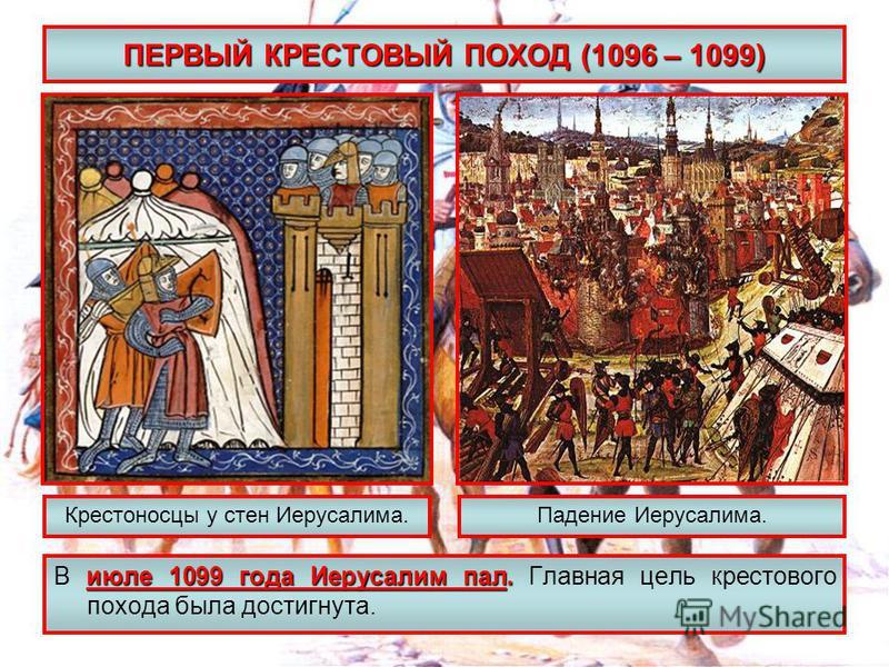 ПЕРВЫЙ КРЕСТОВЫЙ ПОХОД (1096 – 1099) июле 1099 года Иерусалим пал. В июле 1099 года Иерусалим пал. Главная цель крестового похода была достигнута. Крестоносцы у стен Иерусалима.Падение Иерусалима.