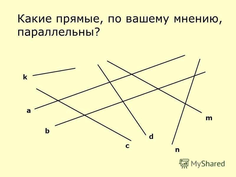 Какие прямые, по вашему мнению, параллельны? a b c d n m k