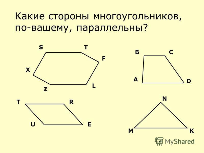 Какие стороны многоугольников, по-вашему, параллельны? M N K UE RT D CB A ST F L Z X