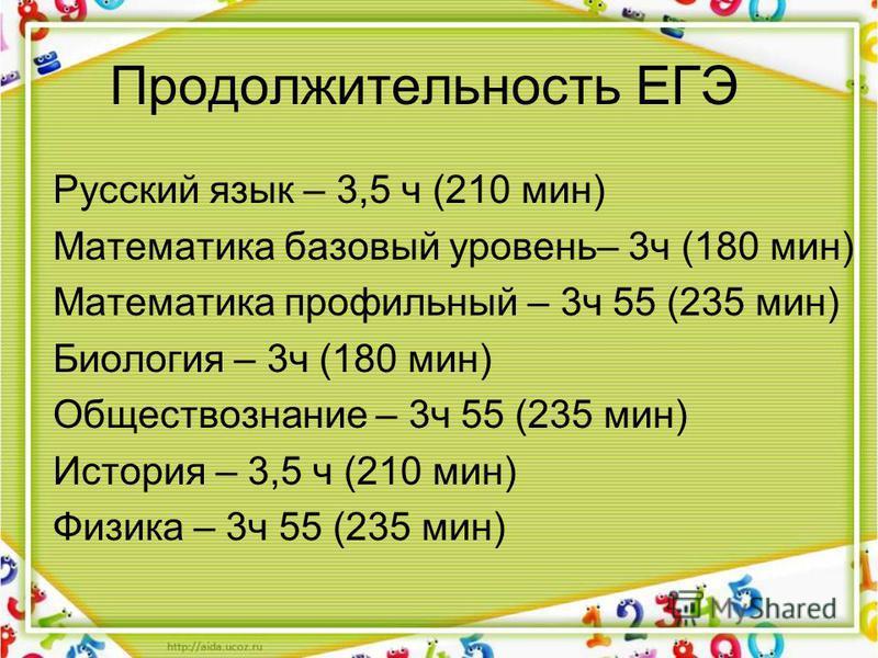 Продолжительность ЕГЭ Русский язык – 3,5 ч (210 мин) Математика базовый уровень– 3 ч (180 мин) Математика профильный – 3 ч 55 (235 мин) Биология – 3 ч (180 мин) Обществознание – 3 ч 55 (235 мин) История – 3,5 ч (210 мин) Физика – 3 ч 55 (235 мин)