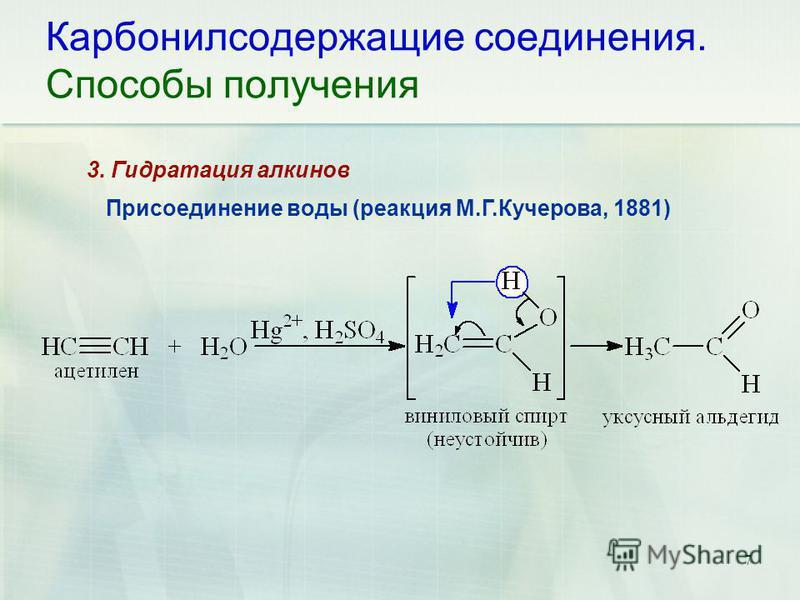 7 Карбонилсодержащие соединения. Способы получения Присоединение воды (реакция М.Г.Кучерова, 1881) 3. Гидратация алкинов