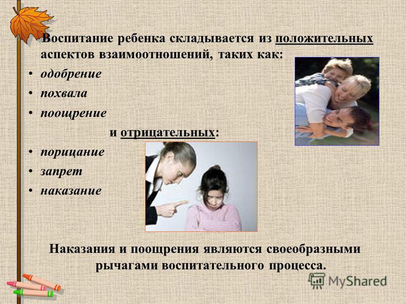 Воспитание ребенка складывается из положительных аспектов взаимоотношений, таких как: одобрение похвала поощрение и отрицательных: порицание запрет наказание Наказания и поощрения являются своеобразными рычагами воспитательного процесса.