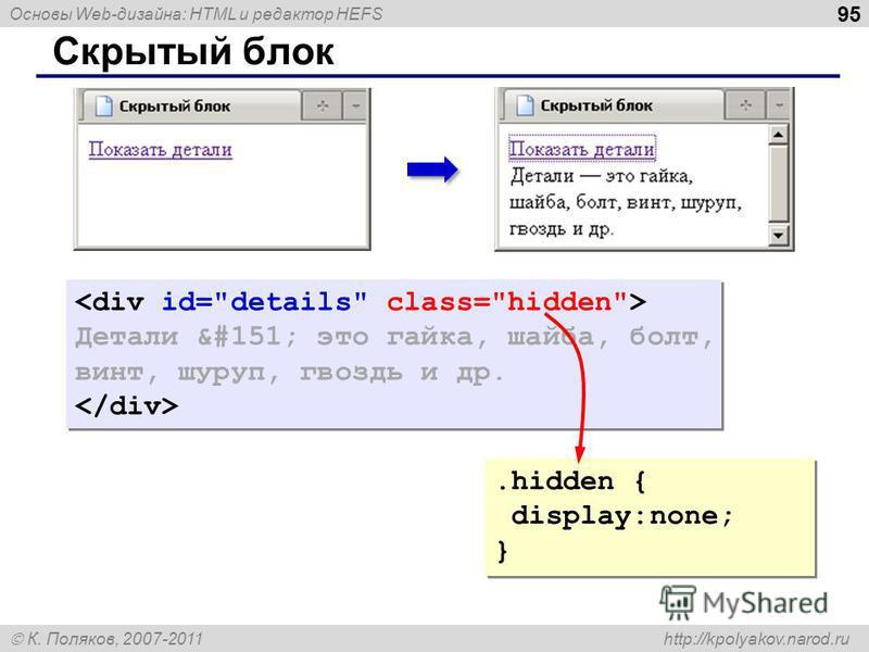 Основы Web-дизайна: HTML и редактор HEFS К. Поляков, 2007-2011 http://kpolyakov.narod.ru 95 Скрытый блок Детали — это гайка, шайба, болт, винт, шуруп, гвоздь и др. Детали — это гайка, шайба, болт, винт, шуруп, гвоздь и др..hidden { display: