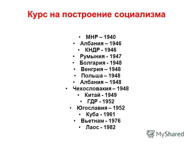 Курс на построение социализма МНР – 1940 Албания – 1946 КНДР - 1946 Румыния - 1947 Болгария - 1948 Венгрия – 1948 Польша – 1948 Албания – 1948 Чехословакия – 1948 Китай - 1949 ГДР - 1952 Югославия – 1952 Куба - 1961 Вьетнам - 1976 Лаос - 1982