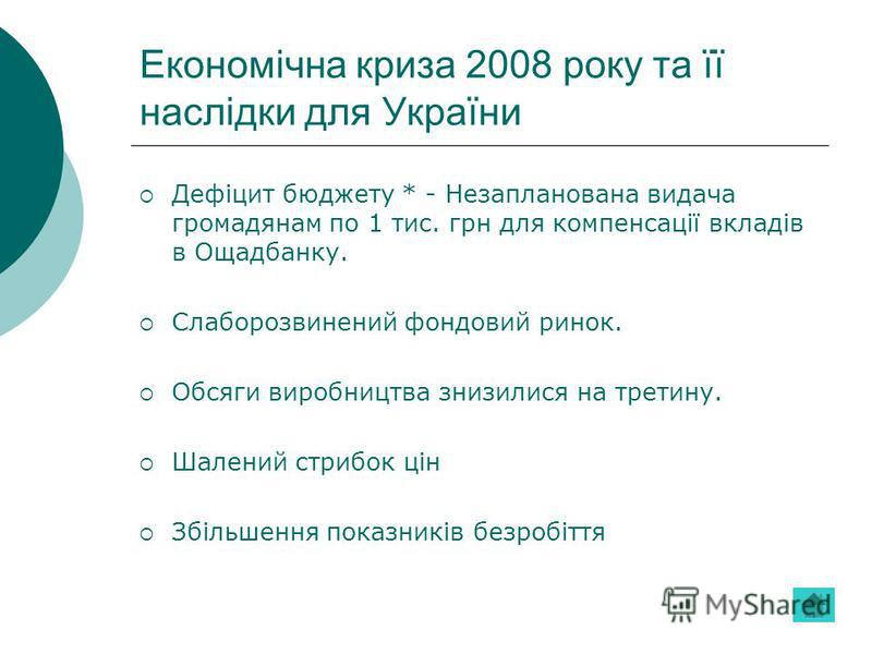 Економічна криза 2008 року та її наслідки для України Дефіцит бюджету * - Незапланована видача громадянам по 1 тис. грн для компенсації вкладів в Ощадбанку. Слаборозвинений фондовий ринок. Обсяги виробництва знизилися на третину. Шалений стрибок цін