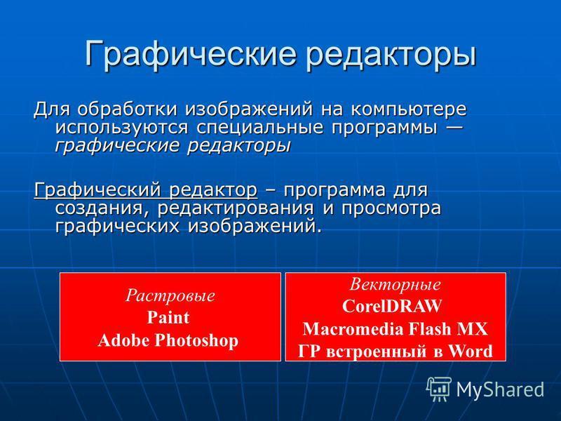 Графические редакторы Для обработки изображений на компьютере используются специальные программы графические редакторы Графический редактор – программа для создания, редактирования и просмотра графических изображений. Растровые Paint Adobe Photoshop