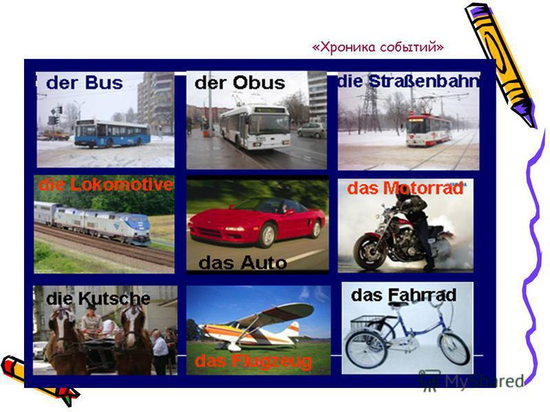 «Хроника событий» 2. Основная часть 1. Wir wiederholen die Lexik. Отгадайте, какие слова здесь зашифрованы. Die Verkehrsa- pel Die Verkehrsa- pel Wa- - en auf (Akk) Wa- - en auf (Akk) Die Halte - - elle Die Halte - - elle Der Stra - enüber – ang Die